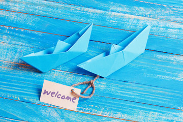 Welcome Tag with Boats.