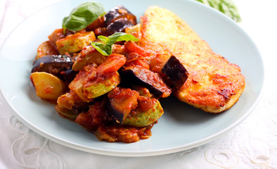 Ratatouille and spiced fried chicken breast