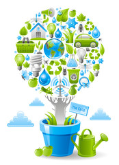 Ecological design with ecology nature symbols icon set in tree. White background. Environment protection concept includes recycling symbol, Earth globe, garbage can, electric car, light bulb, turbine