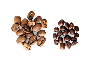 Two kinds of coffee: big and small beans.