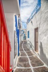 Fototapeta Grecia, vicolo di Mykonos obraz