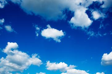 White clouds in blue sky.