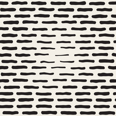 Vector Seamless Black And White Hand Drawn Horizontal Rectangles Halftone Pattern