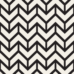 Vector Seamless Black And White Chevron ZigZag Lines Geometric Pattern
