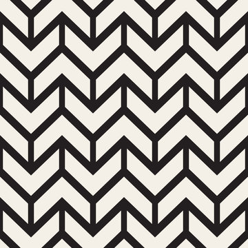Vector Seamless Black And White Chevron ZigZag Lines Geometric Pattern