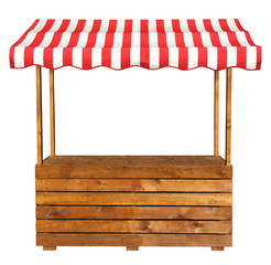 Wooden market stand stall with red white striped awning