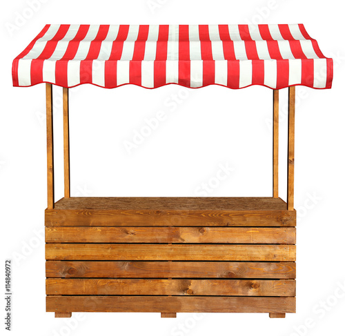 "Wooden market stand stall with red white striped awning"" Stockfotos"
