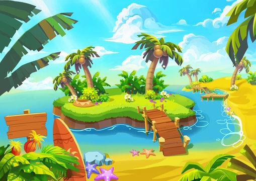 Happy Tropical Sand Beach Coast 1. Video Game Digital CG Artwork, Concept Illustration, Realistic Cartoon Style.