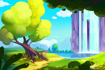 The Waterfall Forest, Video Game Digital CG Artwork, Concept Illustration, Realistic Cartoon Style.