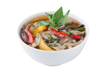 Thai mushroom curry isolated on white