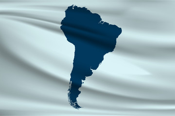 Flag of South America. Map of the South American continent