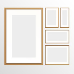 Empty wood frames collage for business