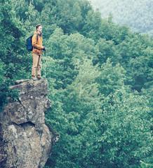 Hiker man walking outdoor