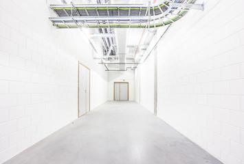 in the basement corridor