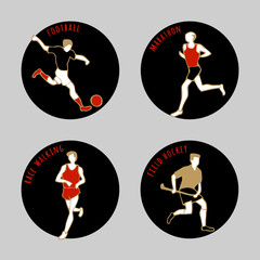 Vector illustration of Athletes. Soccer. Marathon. Race walking. Field Hockey. Summer games. Round sports icons with sportsmen for competitions or championship design.