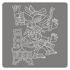 monochrome icon with symbols from Aztec codices for your design