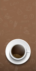 Design coffee banners, a top view of a cup of coffee