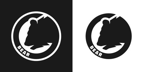 Silhouette of an bear, monochrome logo.
