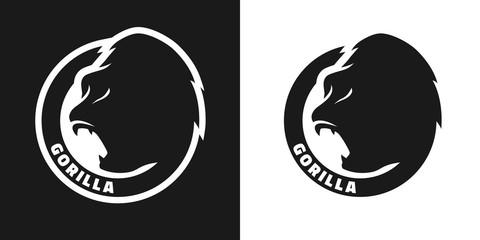 Silhouette of an gorilla, monochrome logo.