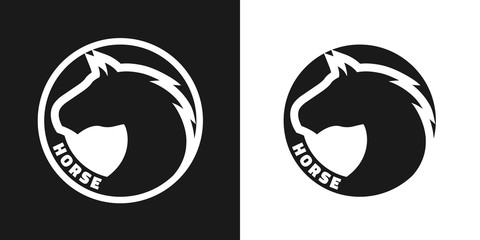 Silhouette of an horse, monochrome logo.