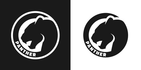 Silhouette of an panther, monochrome logo.