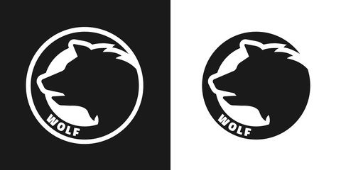 Silhouette of an wolf, monochrome logo.