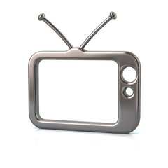3d illustration of silver tv icon