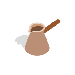 Brown coffee cezve icon in isometric 3d style on a white background