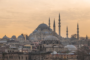 beautiful new mosque in twilight sky background landmark in Istunbul