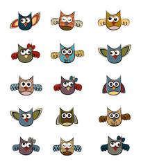 Owl Coloring Doodle Set Vector