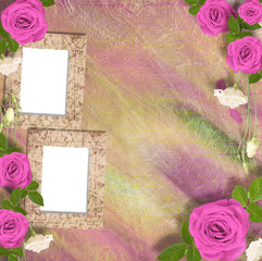 Beautiful greeting card with bouquet of pink roses, ribbons