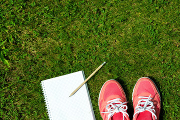 Fitness concept, pink sneakers and notebook with pencil on green grass, top view