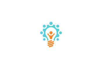 people group creative light bulb logo