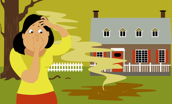Woman standing in a backyard next to a puddle of sewage, pinching her nose, EPS 8 vector illustration