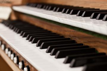 Detail of church organ keyboard closeup