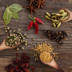 Different spices on a wooden surface closeup