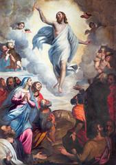 Fototapeta BRESCIA, ITALY - MAY 22, 2016: The painting Ascension of the Lord in church Chiesa di Santa Maria del Carmine by Bernardino Gandino (1587 - 1651). obraz