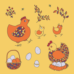 Farm set: chicken, chicks, basket with eggs, nest, twigs