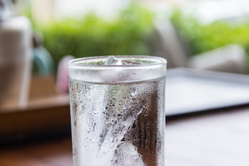 cool pure water in glass
