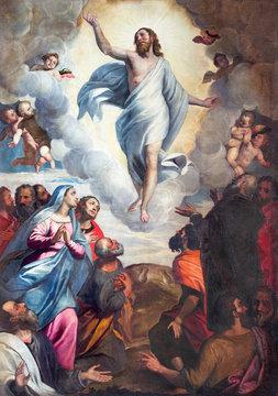 BRESCIA, ITALY - MAY 22, 2016: The painting Ascension of the Lord in church Chiesa di Santa Maria del Carmine by Bernardino Gandino (1587 - 1651).