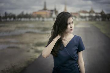 Beautiful woman portrait, outdoor fashion