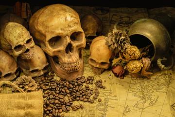 Adult human skull with  many small skulls, on the map still light human skulls, classic skulls background