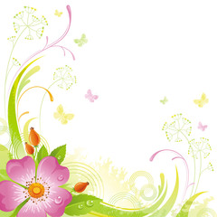 Floral summer background with pink wild rose flower, leafs, grass and grunge elements, copy space for your text