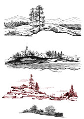 Set terrain, terrain on an isolated white background. Drawing made with ink, black liner. The images - Forest silhouette, villages, mountains, rocks, river, houses.
