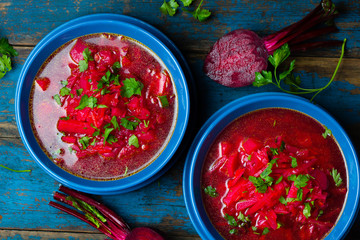 Borsh. Russian and Ucrainian traditional vegetarian red soup. Top view
