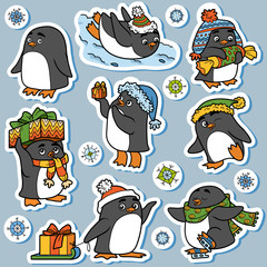 Colorful set of cute animals, family of penguins