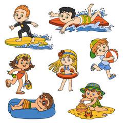 Set of children on summer vacation