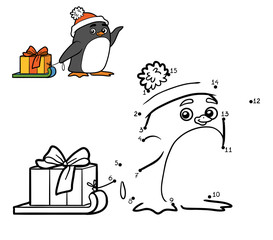 Numbers game for children. Penguin and Christmas gift