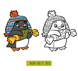 Coloring book, penguin with christmas gift