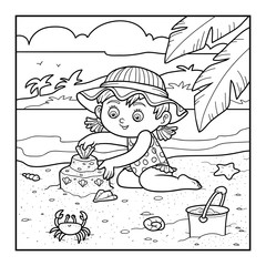 Coloring book for children, girl builds a sand castle